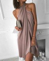 Sexy Women's Summer Beach Dress Neck Loose Irregular Hem Casual Holiday Party Vacation Sleeveless Cool Solid Swimwear