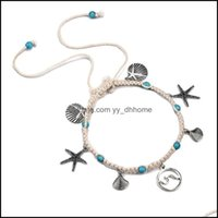 Charm Jewelrycharm Bracelets Style Starfish Beach Womens Bracelet Anklet Shell Sea Wave Knitting Pendant Hand And Foot Aessories Drop Delive