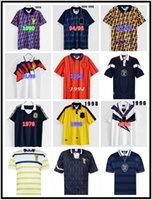 1982 1986 1986 1995 اسكتلندا الرجعية لكرة القدم جيرسي كأس العالم معدات المنزل أطقم الأزرق 1996 1998 الكلاسيكية خمر قميص كرة القدم قمم