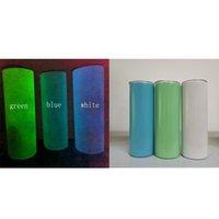 DIY Сублимационные кружки флуоресценция прямые тумблеры свечение в темной нержавеющей стали изолированный цилиндр воды бутылки для воды
