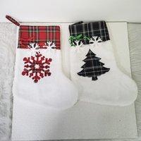 Рождественские сумки мешковины чулки оптом домашняя собака клетчатая лапа чулок подарок фестиваль носки