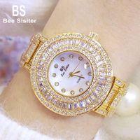 BS Bee сестра большая циферблат алмазные кварцевые часы женщины розовые золотые дамы стальные водонепроницаемые наручные часы кристалл баян Kol Saati BS-1186 наручные часы