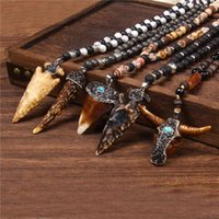 Тибетский натуральный агат лава каменные нить бусы бусины ожерелье ковные быка бычьего головы зубов череп чарки ожерелье мужчины женщины Amulet Lucky подарок 210323