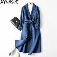 Ayunsue 2020 겨울 코트 여성 진짜 양모 코트 여성 알파카 재킷 더블 사이드 모직 코트 한국어 긴 재킷 Manteau Femme 내 C0ua #