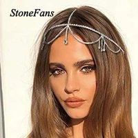 Saç Klipler Barrettes Stonefans Bohemian Rhinestone Kafa Zincir Alın Takı Gelin Kadınlar için Basit Kristal Püskül Kafa Headdress Biz Biz