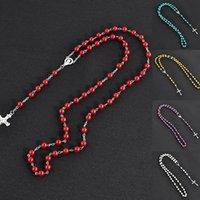 Collana perline perla catene cross gioielli rosario rosario cattolico pendenti religiosi collana cristiana