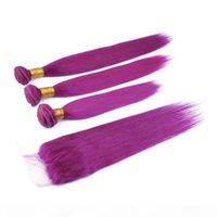 말레이시아 인간의 머리카락 보라색 컬러 직조 번들 클로저와 함께 3pcs 실크 스트레이트 순수 보라색 버진 머리 위사와 4x4 레이스 폐쇄