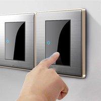 스마트 홈 컨트롤 86 유형 1 2 3 4 갱단 방식 LED 랜덤 클릭 스위치 미러 아크릴 가정용 가정용 가정용 스테인레스 스틸 닦았 패널 빛