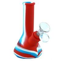 "shisha hookah beaker bong water smoking pipe silicone material with glass bowl height 5"""