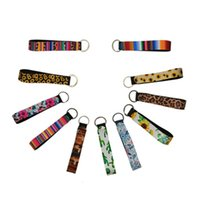 Neoprene wristlet keychain colourful printed wrist key belt sunflower strip leopard lanyard key ring long diving material keychains HHC2103