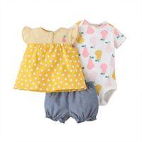 Toddler Girls Summer Clothes Baby Print Bodysuits O-Neck Tshirt Regular Shorts Kids 3 Pcs sets Outfits Clothing Sets
