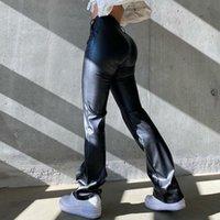 Women's Pants & Capris Elegant Black PU Leather Women High Waist Skinny Trousers Ladies Casual Fashion Autumn Vintage Streetwear