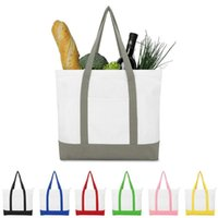 Creative Strong Large 16oz Cotton Canvas Tote Bag, Reusable Grocery Shopping Bags, Fashionable Two-Tone Bags For Crafts Shoulder