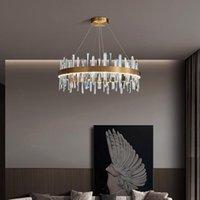 Pendant Lamps 2021 Crystal Chandelier Light Luxury Post-modern Living Room Lamp Simple Designer Dining Bedroom