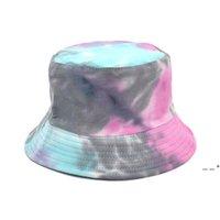 Arco iris Color Pescador Sombrero Ancho Brim Brim Playa Protección UV Top Ronda Top Sun Paps Hip Hop Bucket Bucket Hats EWD5712