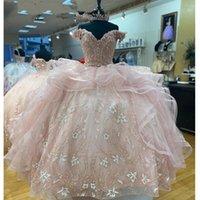 2021 Light Pink Princess Quinceanera Dress Off Shoulder Appliques Sequins Flowers Party Sweet 16 Gown Vestidos De 15 Años