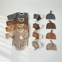 Fashionable designer children's clothing INS Fall Infant Toddler Kids Boys Girls Sets Pajamas Suits Long Sleeve Stripes Tshirts + Pants Hat