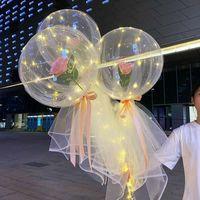 Şeffaf Bobo Topu LED Aydınlık Balon Gül Buketi Gül Sevgililer Günü Hediye Balon Doğum Günü Partisi Düğün Dekor Için 1465 V2