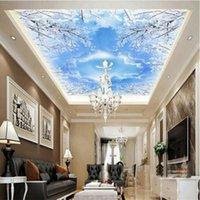 Wallpapers Custom 3D Wallpaper For Walls Murals Backgrounds Non Woven Silk Living Room Smallpox Ceiling Sky Blue Pigeons