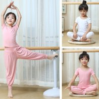 모달 부모 - 어린이 어린이 요가 옷 여자 소년 순수한 면화 연습 댄스 스포츠 블루머들 정장 2 피스 세트
