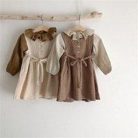 DB ins الكورية اليابان نمط أطفال بنات قمصان الكتان القطن النسيج الكشكشة بدوره أسفل طوق مصمم الفتيات الصغيرات البلوزات الأطفال قمم 571 K2