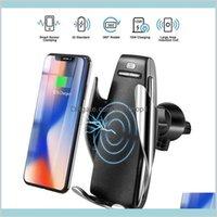 Chargeur sans fil S5 Serrure de voiture de serrage automatique Porte-chargeur Mont Smart Sensor 10W Chargeur de chargement rapide pour téléphones universels MQ20 9Q3K6 1x50a