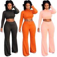 Kadınlar Katı Renk 2 adet Setleri Moda Trendi Uzun Kollu Kısa Tops Geniş Bacak Pantolon Takım Elbise Tasarımcı Kadın Kış Yeni Rahat Ince Eşofman