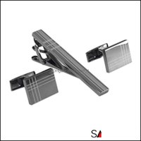 Cuff Links & Clasps, Tacks Jewelrysavoyshi Classic Square Black Laser Stripe Bussiness Mens Jewelry Cufflinks Clips Set Necktie Pin Tie Bars