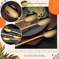 Spoons Pack Of 3,Gold Plated Stainless Steel Spoons, Mini Teaspoons Set Tea Coffee Mixing Spoon Handle Dessert Kitchen Tool Teaspoon