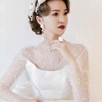 Wraps & Jackets Bridal Wedding Tulle Lady Elegant Party Shawl Women Victorian Retro Blouse Romantic Pearls Long Sleeve Bolero