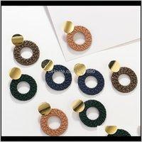 Dangle & Chandelier Jewelryaensoa Vintage Imitation Rattan Knit Resin For Women Alloy Head Round Hollow Geometric Earrings Fashion Party Jewe