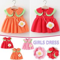 Summer Baby Girl Dress Cute 2021 Toddler Child Solid Color + Small Satchel Vestidos De Verano Girl's Dresses