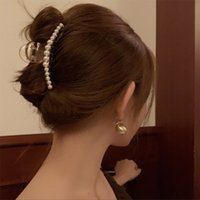 Big Pearls Acrylic Hair Claw Clips Large Clips for Women Makeup Head Styling
