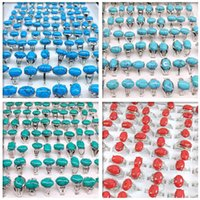 Solitaire Jewelrywholesale 50Pcs Mix Styles Colorf Turquoise Stone Rings For Women Ladies Fashion Jewelry Ring Brand Drop Delivery 2021 Asdn