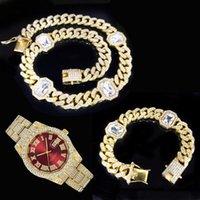 Chains Hip Hop 12.5MM 3pcs Kit CZ Iced Out Square Crystal Cuban Chain Set Men's Necklace+Watch+Bracelet For Men Women Jewelry
