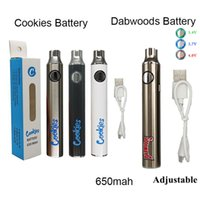 510 Thread Cookies Battery Dabwoods Batteries 650mah Preheating Vape Cartridge Ecigarette Variable Voltage Batteries with Charger USB Cable Fast shipment