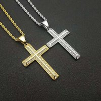 Stainless Steel Hip Hop Crystal Cross Pendant Necklaces For Women Men Fashion Jewelry Party Club Decor