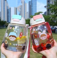 large-capacity plastic double drinking cups water bottle childrens students portable strap kettle male and female pot-bellied straw cup