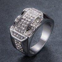 Iced Out Hip Hop Diamond Cluster Anelli Full Crystal Gold Band Anelli per le donne Uomo in stile moto gioielli di moda gioielli e sabbioso