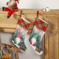 Christmas Stockings Gnome Buffalo Plaid Kids Gift Treat Bags Holiday Party Xmas Tree Fireplace Decoration GWB10554
