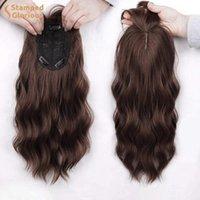 합성 가발 Lativ 초콜릿 갈색 물결 모양의 머리카락 엷게 향하여 내열성