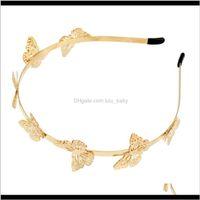 Precio al por mayor Moda simple chapado en oro mariposa forma de joyería para niñas accesorios para niña PCQP4 Headbands PGW3M