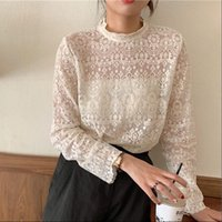 Casual All match Stand Collar Womens Shirts Hollow Out Lace Long sleeved Women Blouses Spring Summer Female Pullovers Tops Blusas