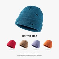 Beanie Skull Caps Women Men Winter Knitted Cuffed Beanie Hat Solid Color Harajuku Hip Hop Vintage Ripped Distressed Short Melon Skull