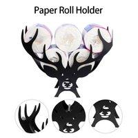 Black Deer Toilet Roll Paper Holder Bathroom Iron Towel Stand Cartoon Crafts Organizer For Living Room Holders