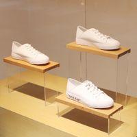 Scarpe display stand scarpe borsellino portafoglio portafoglio trasparente pmma acrilico plus sacchetto di faggio titolare di faggio
