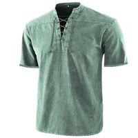 Men's Casual Shirts Men Spring Summer Stand Collar Drawstring Shirt Streetwear Short Sleeve Harajuku Fashion Loose Solid Tops Pullover