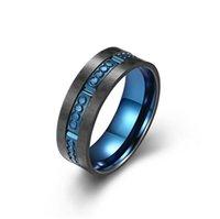 Stainless steel antique black gold ring electroplated solid carbon fiber for men