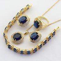 Takı Setleri Koyu Mavi Taşlar Altın Renk Gelin Kadınlar Için Bırak Küpe Kolye Kolye Bilezik Yüzükler Ücretsiz Hediye Kutusu WPAITKYS