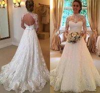 맞춤형 겸손한 라인 레이스 웨딩 드레스 신부 가운 높은 목 긴 소매 섹시한 open 뒤로 드레스 Vestidos de Novia